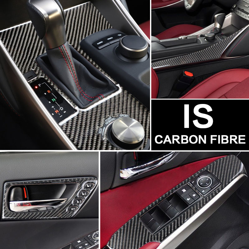 Para LEXUS IS250 300 H Acessórios De Fibra De Carbono Volante Tomada Painel Engrenagem Maçaneta Da Porta Interna Adesivos Decorativos