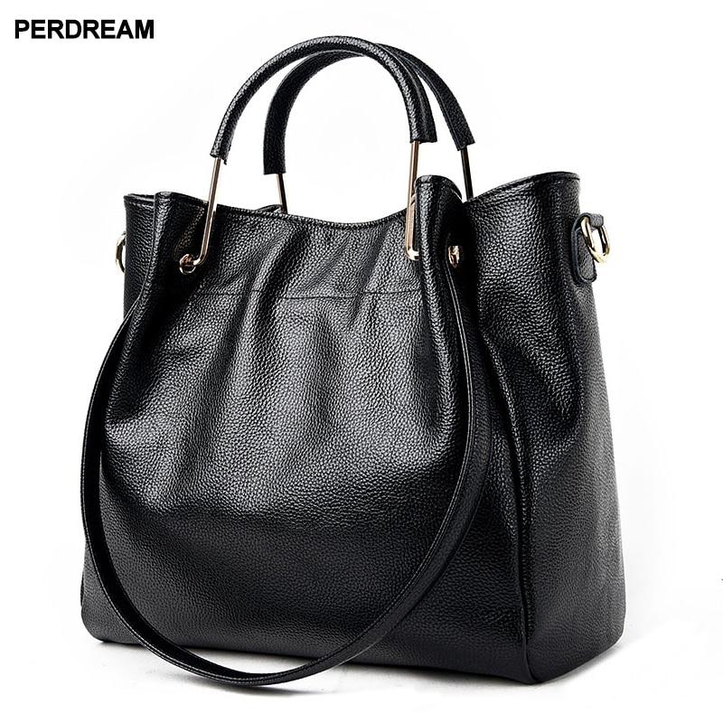 2019 new lychee pattern Europe and America simple wild soft leather bucket bag shoulder Messenger bag handbag