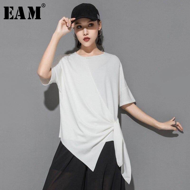 [EAM] 2020 New Spring Summer Round Neck Short Sleeve Black Loose Irregular Hem Bandage Big Size T-shirt Women Fashion JS941
