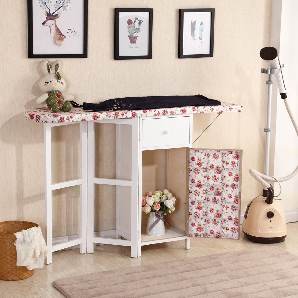 Multifunctional Ironing Board With Storage Cabinet Wood
