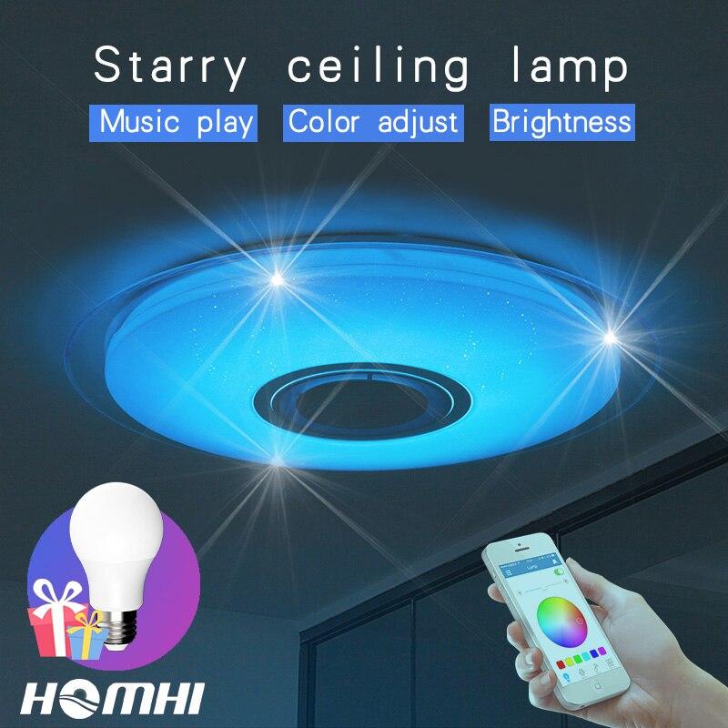 Téléphone contrôle Musique plafond lampe Dimmable 52 w salon chambre moderne pour la maison enfants bluetooth haut-parleur luminaire