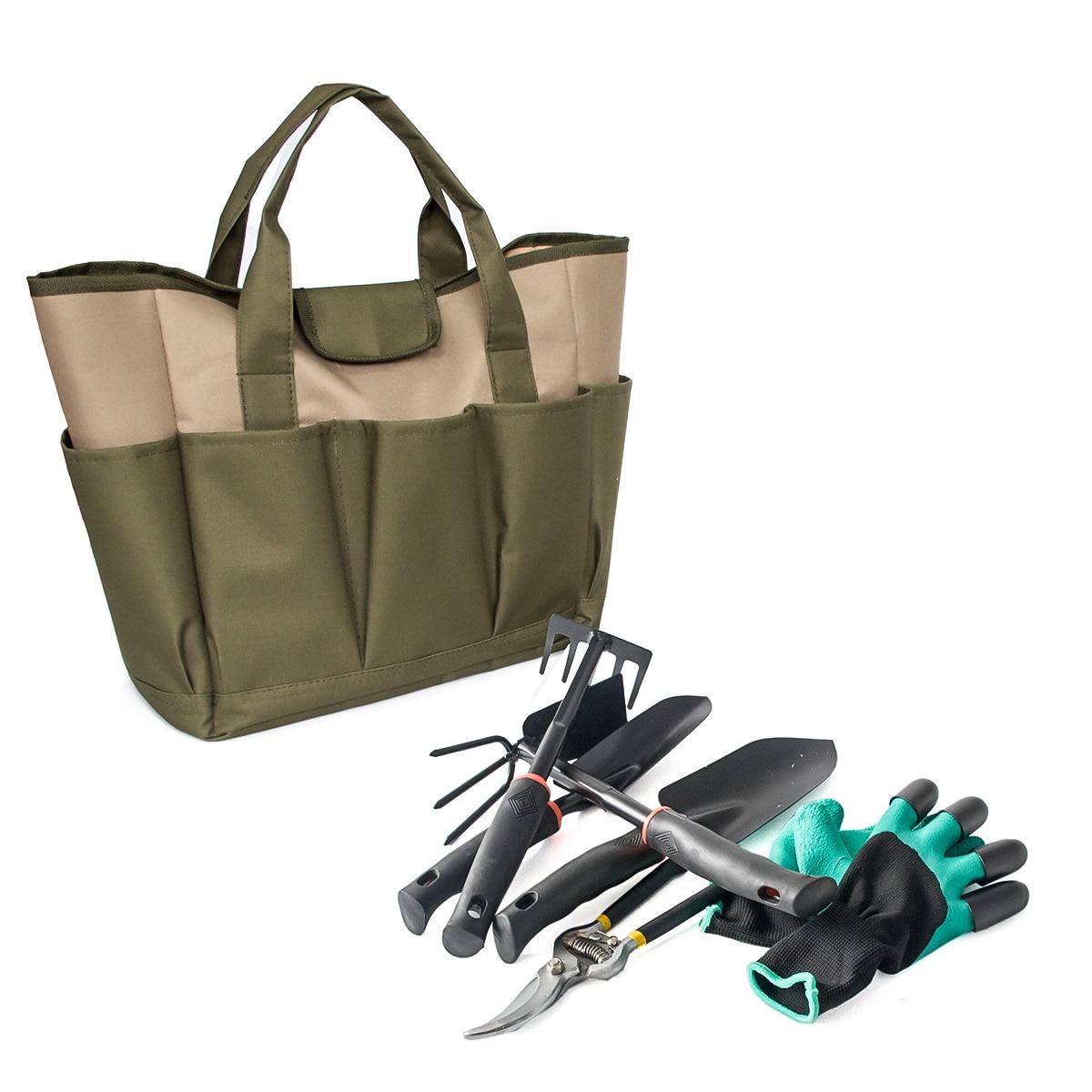 Fourre-tout à la mode de jardin de plante avec des outils sac de transport portatif avec la poche de poches pour des projets de jardinage sac à outils robuste d'oxford