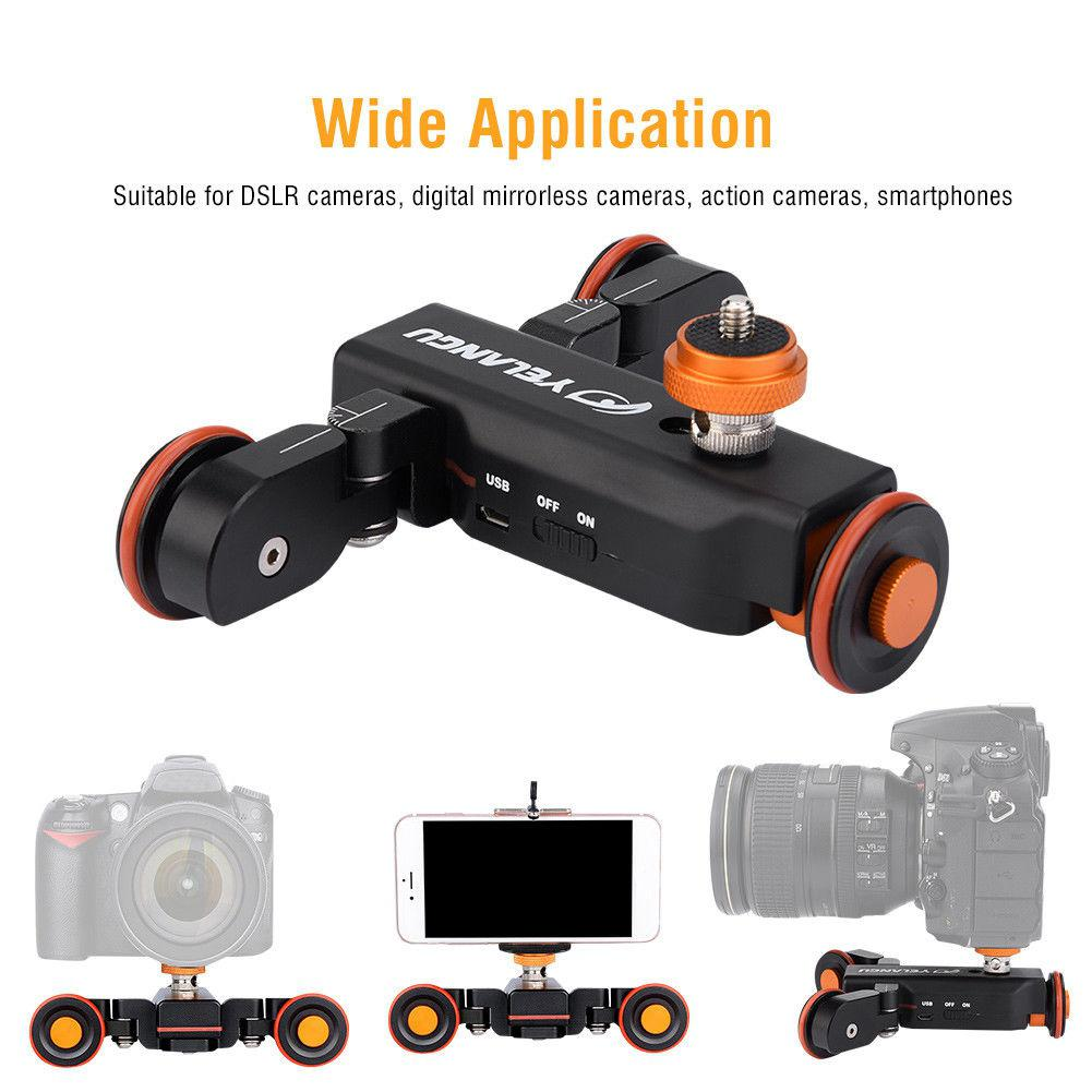 YELANGU Electric Auto Dolly Video Car Motorized Track Slider Skater for Camera Slider Car With Remote
