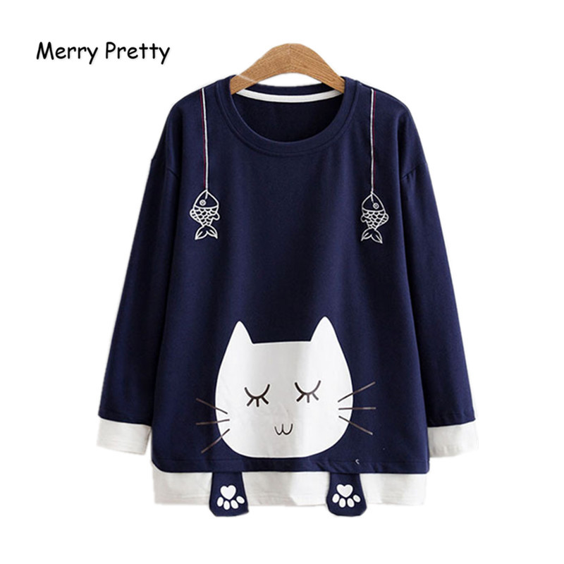 Merry Pretty Autumn Long Sleeve   T     Shirt   Women Sweet Cat Printed Kawaii Cotton   T  -  shirts   for Girls Fish Embroidery Funny Tee Tops