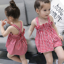 Summer new fashion girls strap dress toddler childrens sleeveless red plaid girl princess