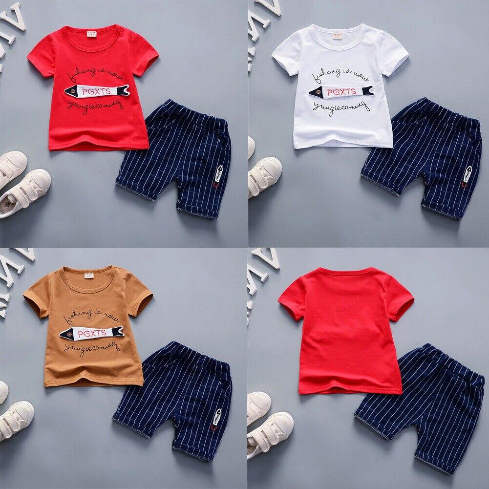 0-3y Sommer Neugeborenen Kinder Baby Jungen Sets Cartoon Tops T-shirt Fisch Gestreiften Hosen 2 Pcs Outfits Set Kleidung