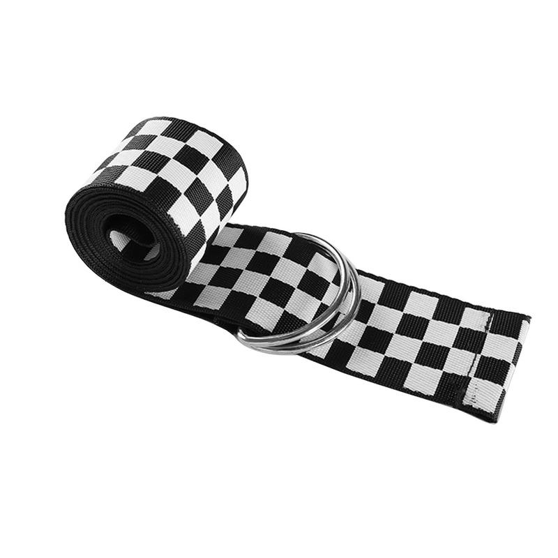 Women Checkerboard   Belts   Cummerbunds Canvas Waist   Belts   Casual Wild Fashion Checkered Waistband 135cm Black White Plaid   Belt