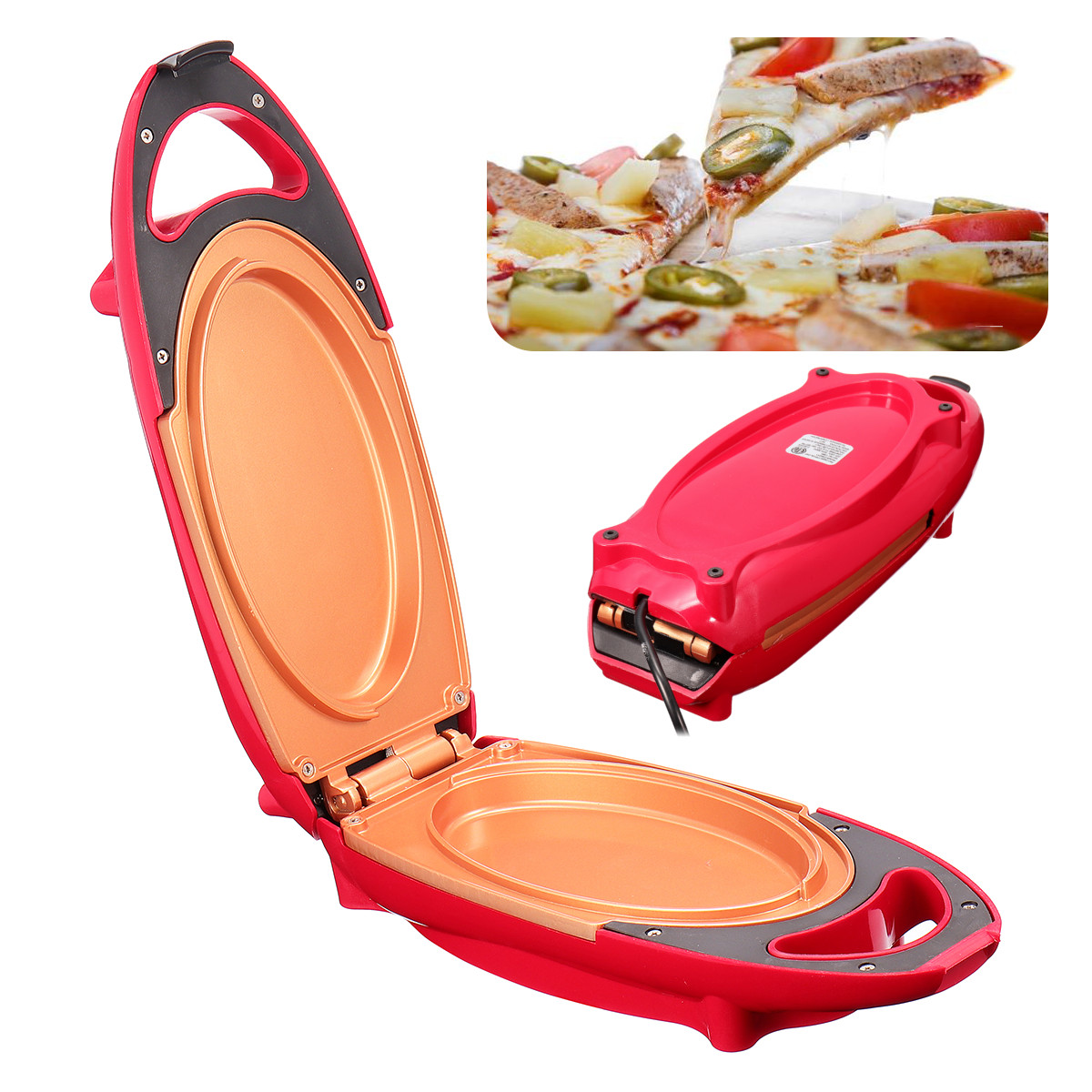 Non stick 5 Minute Chef Double Coated Smokeless Electric Red Copper Pan Cooker Barbecue Meals Pan Kitchen Cooking Pizza Pancake