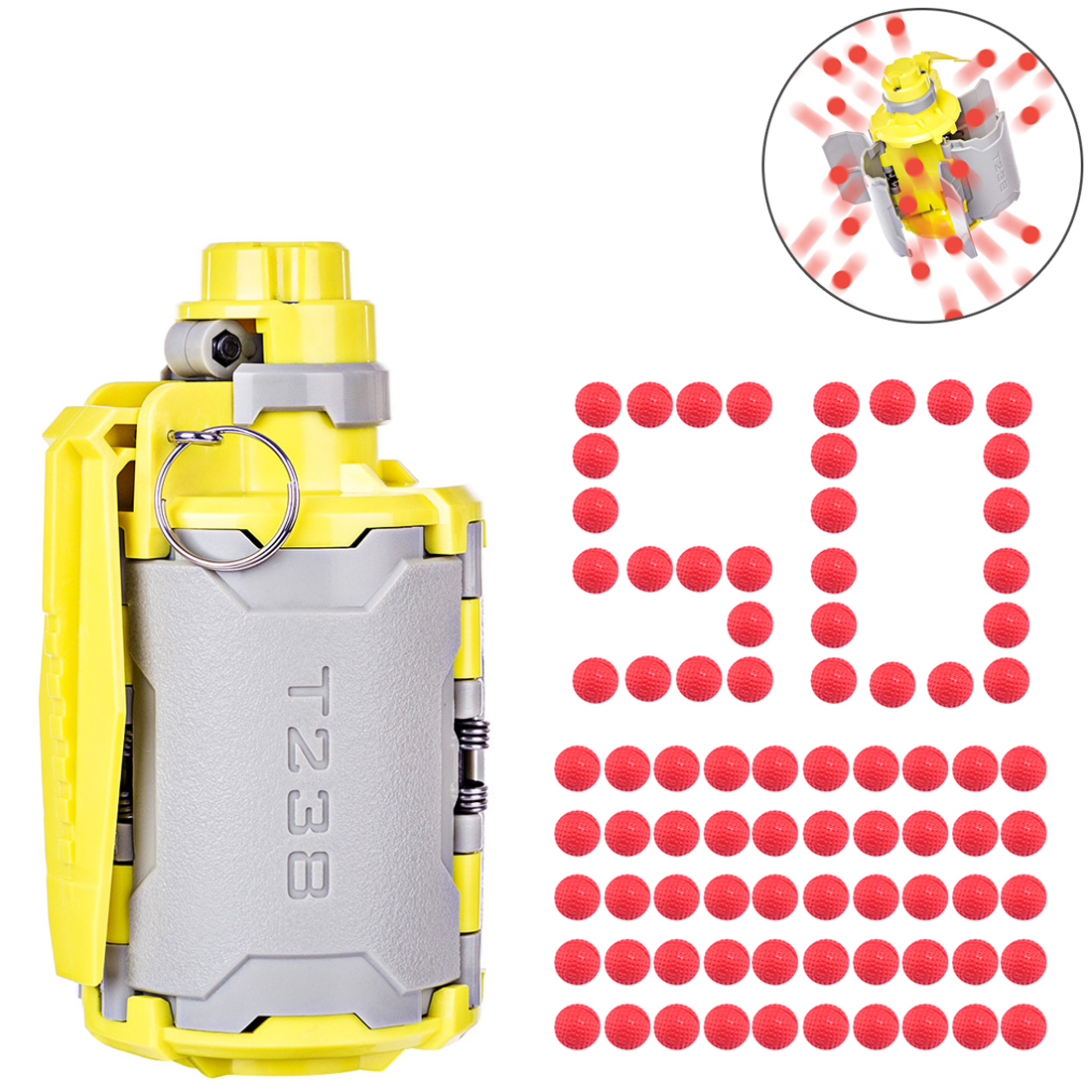 <font><b>T238</b></font> <font><b>V2</b></font> Large Capacity Bomb Toy with Time-delayed Function 10 Round Soft Foam Bullets for Games Gel Ball BBs Airsoft Wargame image