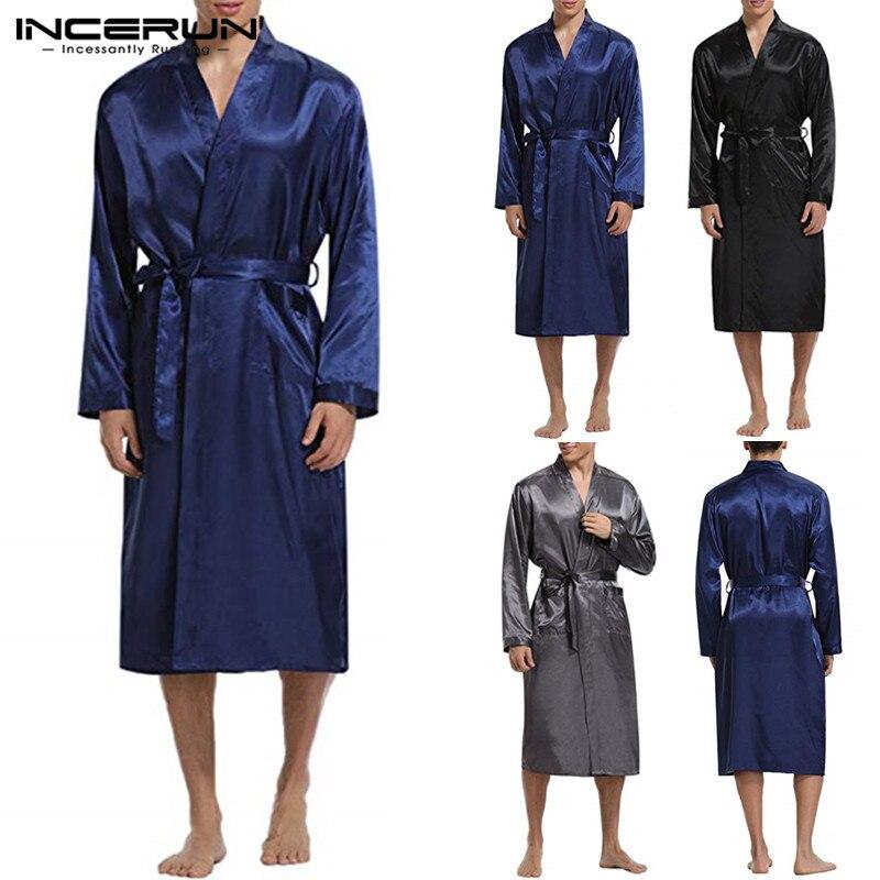 Kimono Soie Satin Peignoir Hommes Robe à Manches Longues