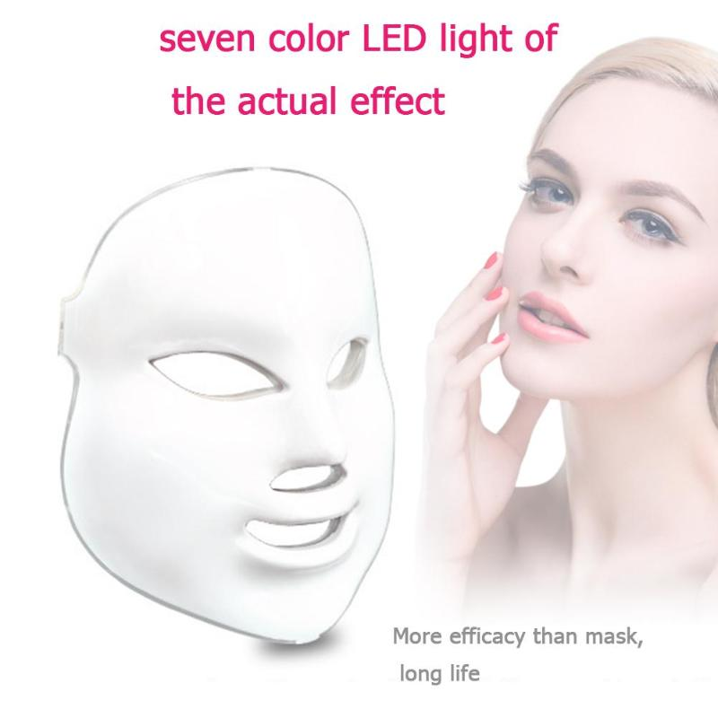 7 Colors Beauty Therapy Photon Electric LED Facial Mask Neck Skin Rejuvenation Facial Massager Anti Acne Wrinkle Remote Control 7 colors photon electric led facial mask beauty therapy skin rejuvenation massage anti acne wrinkle facial massage