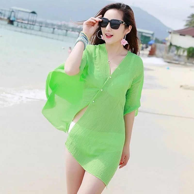 b197899ece4d1 ... 2019 New Summer Sexy Women Cover Up Kaftan Chiffon Swim Wear Beach Wear  Bikinis Sundress Beach ...