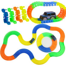 Miraculous Glowing Race Track Bend Flex Flash in the Dark Assembly Car Toy 100/165/220/240/300/360pcs Glow Racing Track Set(China)