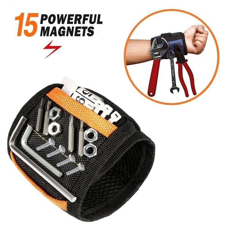 Magnetic Wristband Bag Magnetic Wrist Strap Polyester Magnet Tool Picker For Fixing Screws Nails Drill Wrist Straps Tool