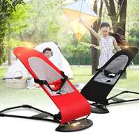 Red/Black Foldable Soft Newborn Baby Bouncing Chair Seat Safety Balanced Rocking Bouncer Sofa