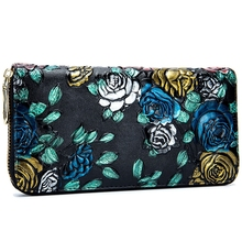 Womens Wallet Leather Long Paragraph Rose Multi-Card Embossed Flower Tide