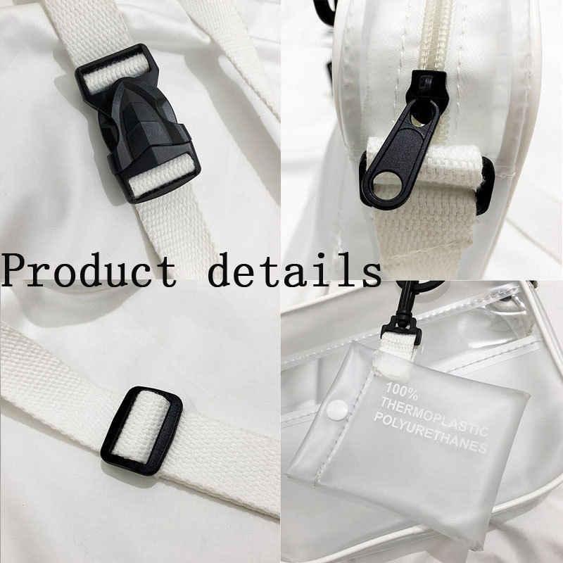 2019 Baru Causual PVC Transparan Bening Wanita Tas Selempang Tas Bahu Tas Tangan Jelly Kecil Tas Telepon Pemegang Tali Lebar Flap