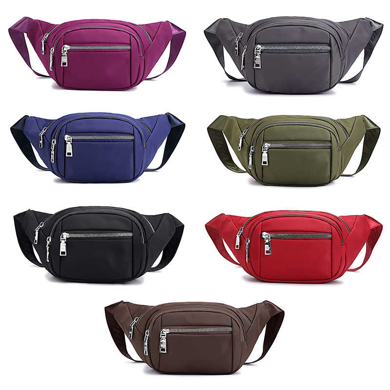 Sólido durável náilon cintura saco de viagem à prova dwaterproof água fanny pacote saco multi zíper bolsa de telefone carteira pacotes de cintura ampla cinta sacos