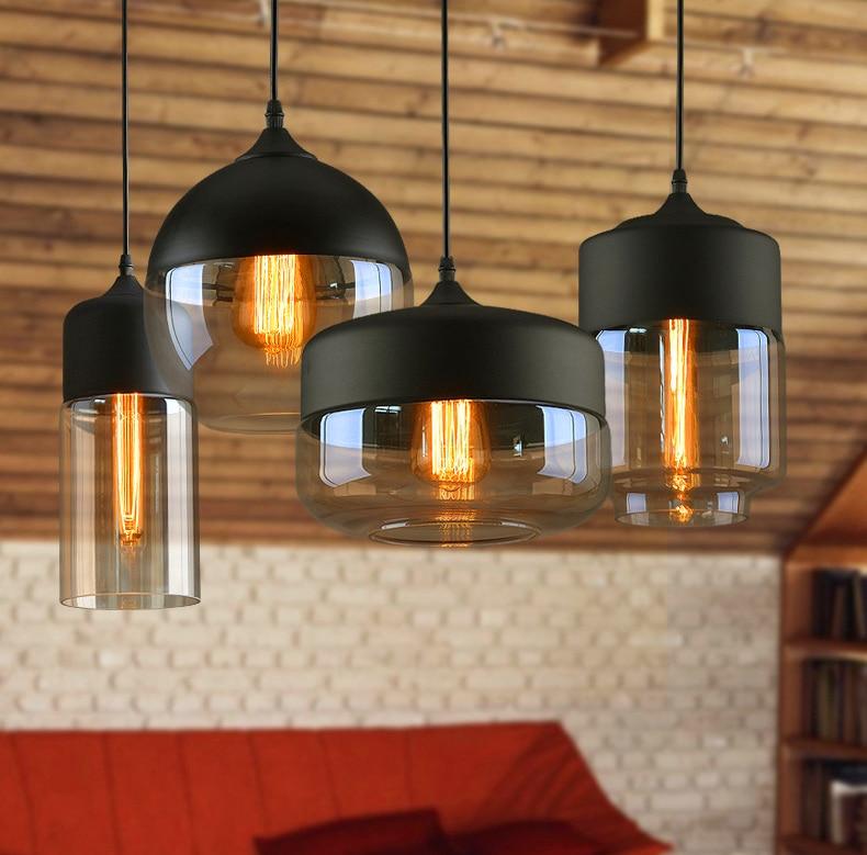 Vintage Retro Glass LED Pendant Lamps Lights Nordic Hanglamp Home Decor Kitchen Led Fixtures Abajur Hanging