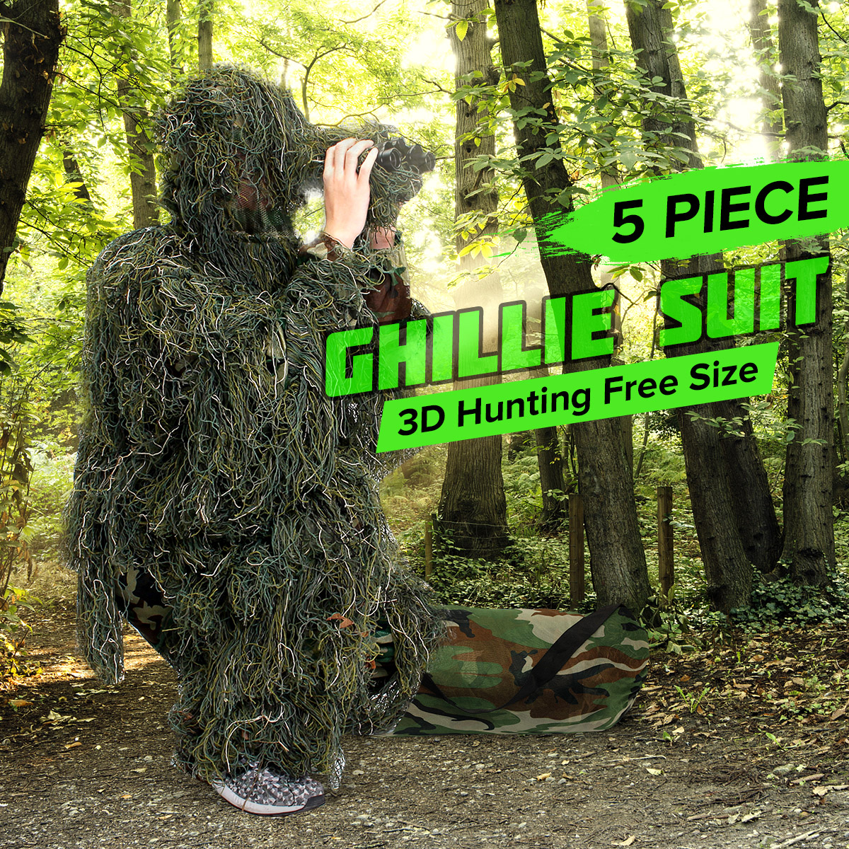 5 Piece Ghillie Suit Woodland Camo Camouflage Durable Polyester Clothing 3D Rifl