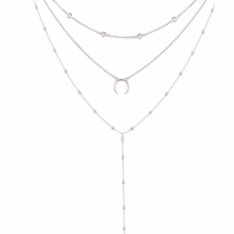 موضة الطبقات قصيرة المختنقون القلائد للنساء القمر رقاقة قلادة قلادة المرأة الفضة مجموعة البوهيمي الإناث قلادة Jewelr