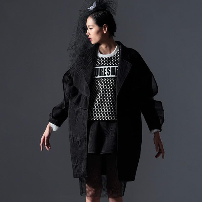 Lâche Col Mesure Ruche Sur down Made Manteau Rétro Unie Femmes De Hiver vent Couleur 2019 Printemps Black Turn Outwear Az44 Coupe Deat 4I6qw54