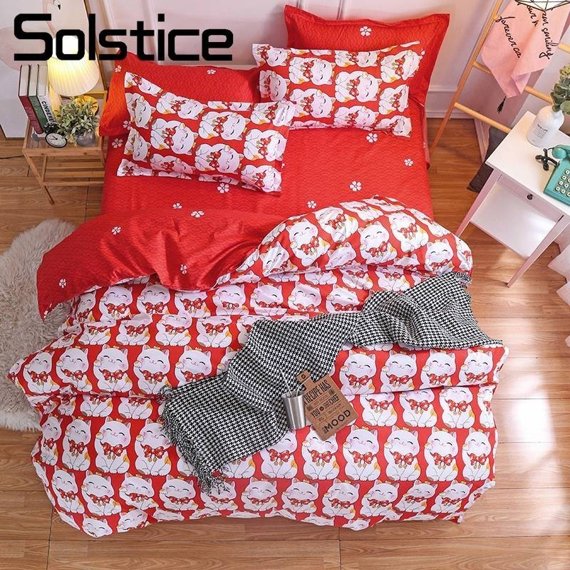 Solstice Home Textile Red Lucky Cat Cartoon Bedding Sets Twin Full Girl Teen Woman Duvet Cover