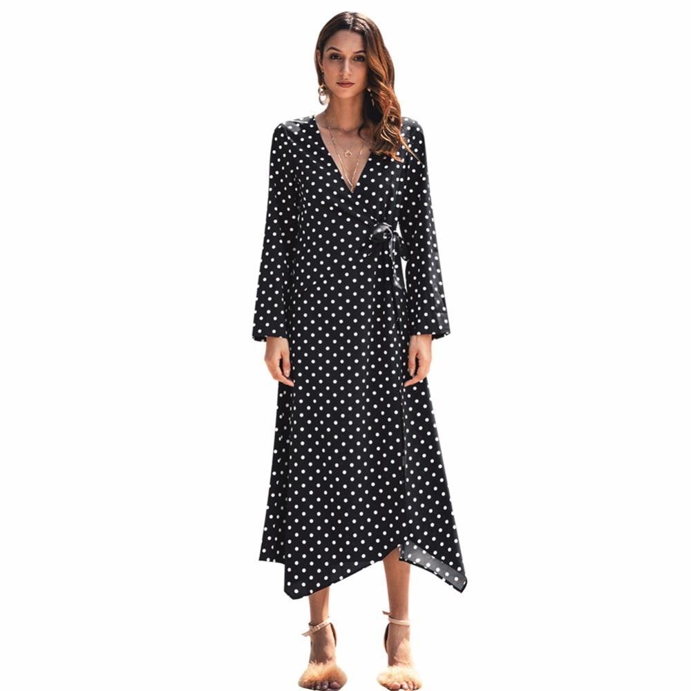 bdadecd09d6b7 Isiksus V Neck Black Polka Dot Summer Maxi Dress Long Sleeve Boho ...