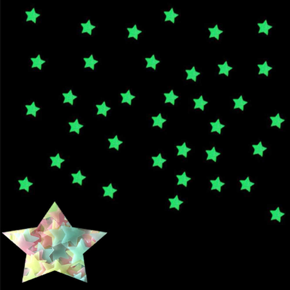 100Pcs 3D כוכבים מדבקות קיר זוהר ניאון פלסטיק כוכב קיר מדבקה לילדים חדר שינה סלון בית תפאורה
