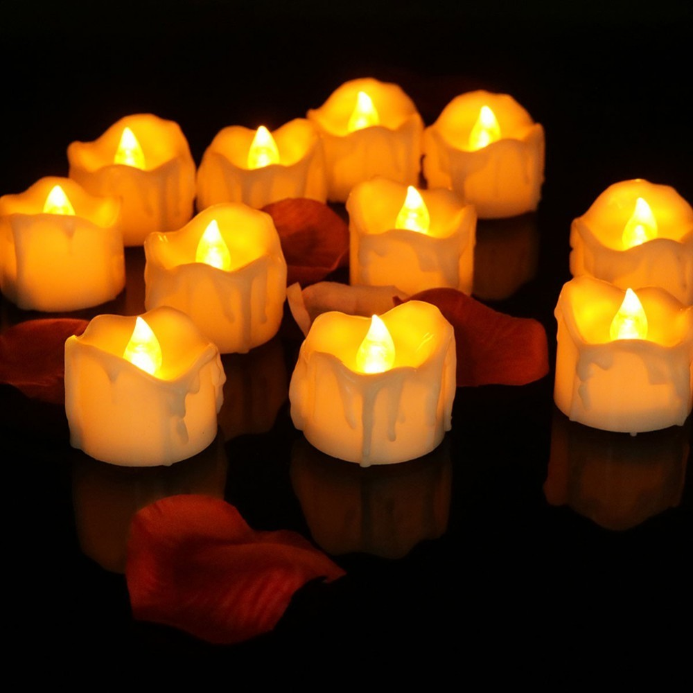 12pcs/pack Flickering Tea Light Include Battery Remote Control Led Candle Bougie Velas Electric Chandelle Party Birthday Candles Candles & Holders