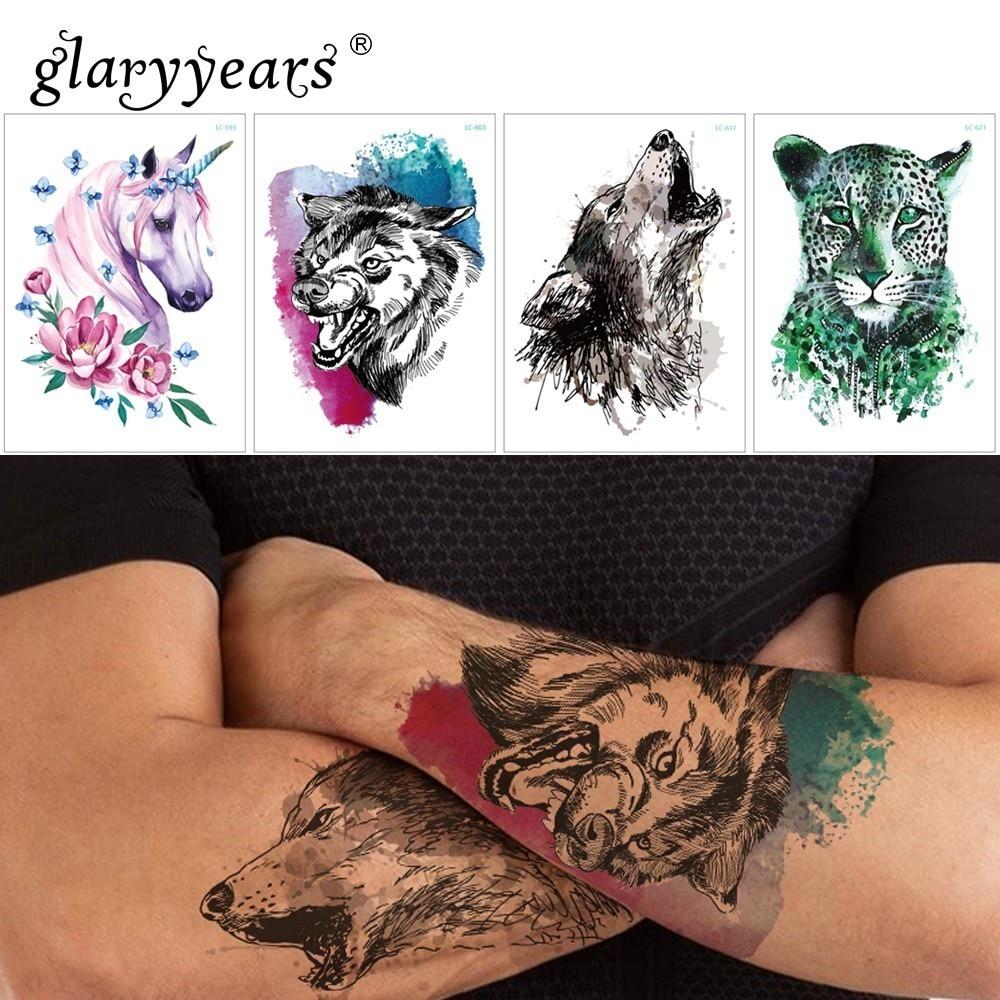 Glaryyears 1 Sheet Temporary Tattoo Sticker Fashion Fake Tatoo Wolf Flash Tatto Waterproof Small Body Art Men Women 25 Designs