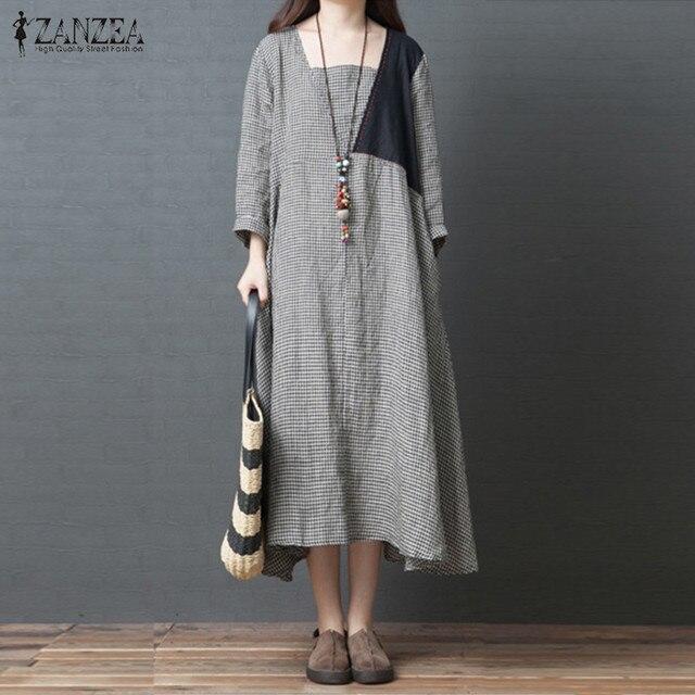 adee02b21b 2019 Spring ZANZEA Casual Cotton Linen Dress Women Long Sleeve Long Vestido  Vintage Check Plaid Patchwork Loose Kaftan Femme-in Dresses from Women s ...