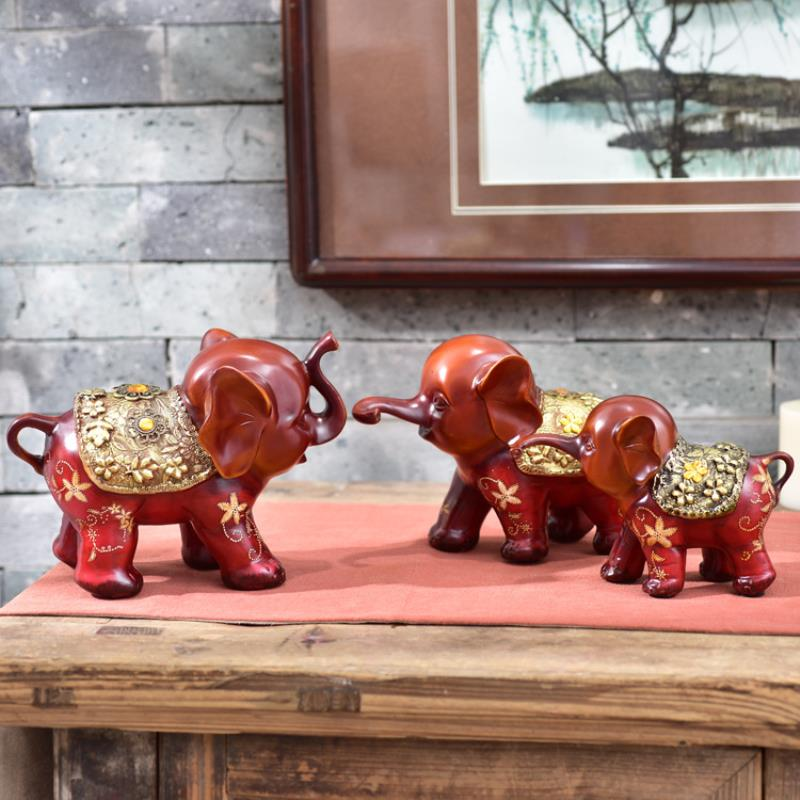 3pcs resin creative cute gift three small elephant office study room decoration a pro auspicious three treasures - 3