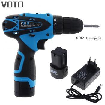 Destornillador eléctrico VOTO 16,8 V con 2 baterías Li-ion y botón de ajuste de dos velocidades para manejar tornillos/perforación