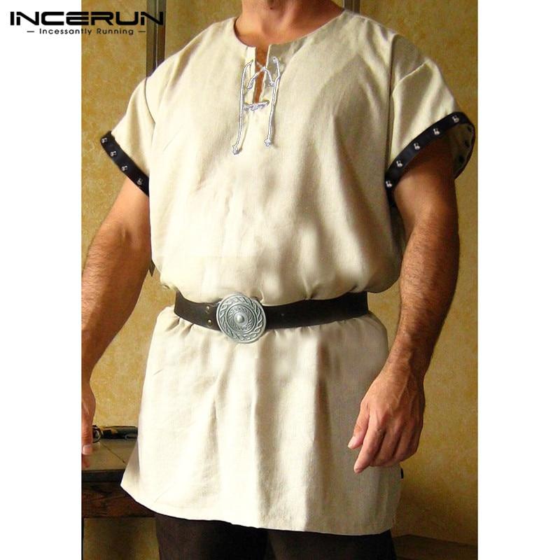 Men's Clothing Medieval Period Viking Shirts Tops Chevalier Shirt Men Short Sleeve Shirt Dress Tops Knight Tunic Stage Costumes Hombre Kurta Casual Shirts