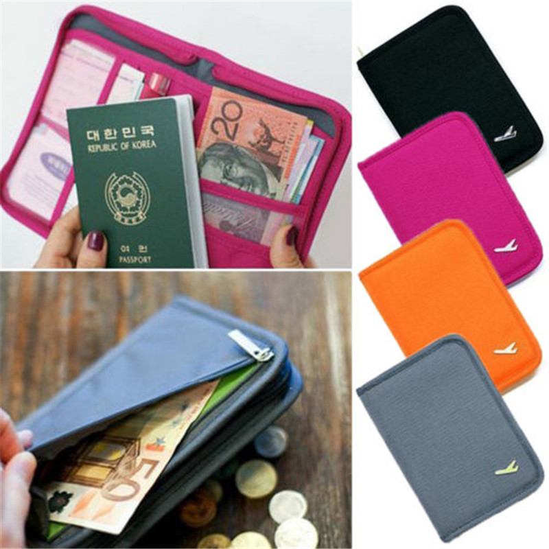 Travel Bag Passport Wallet Purse Document Organiser Zipped Passport Tickets ID Holder