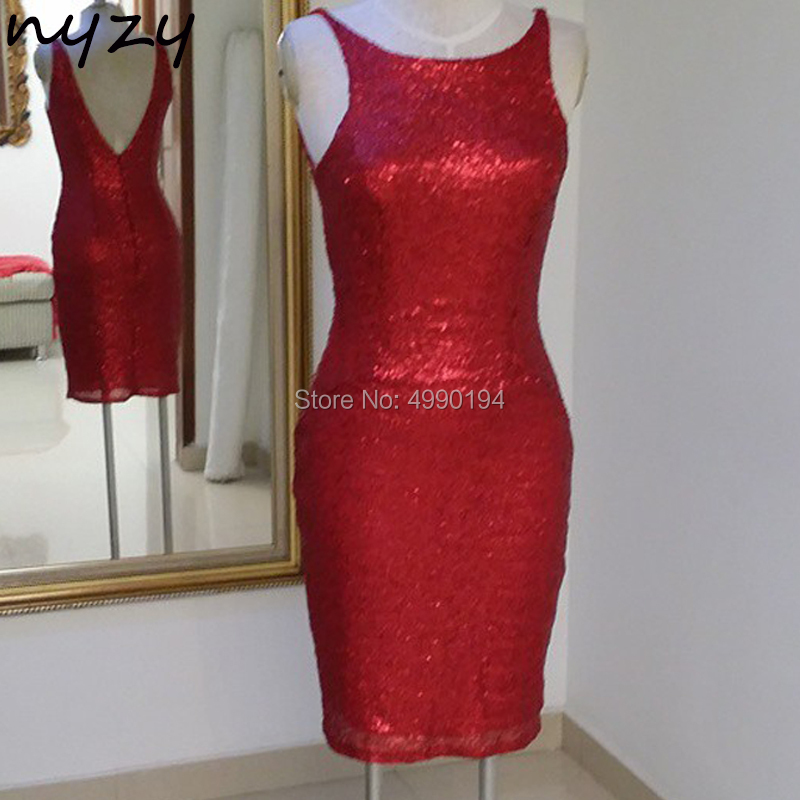 NYZY C37 Free Shipping Sexy Red Cocktail Dresses Party Bling Sequin Gown 2019 Evening Graduation Homecoming Wedding Guest Dress