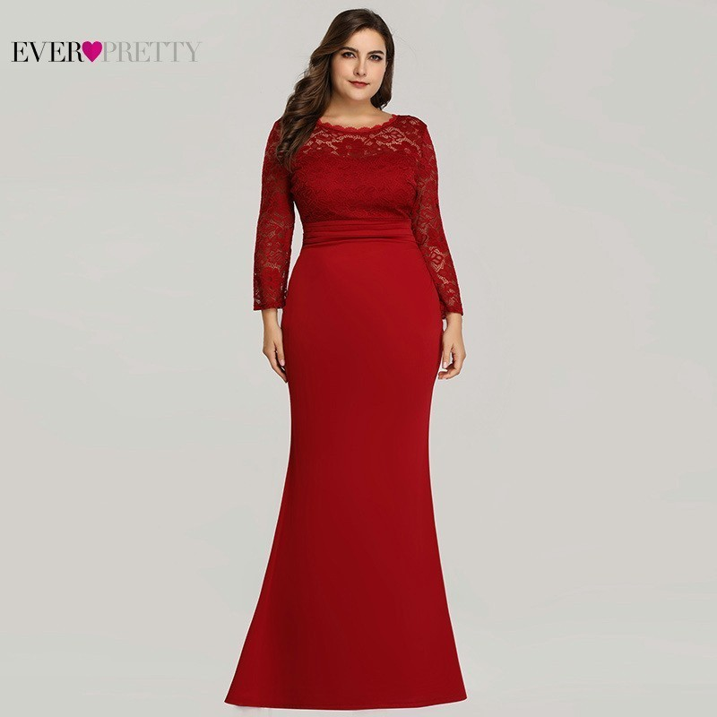 Plus Size Burgundy Mermaid Dresses Ever Pretty O-Neck Lace Long Sleeve Muslim Formal Dresses EZ07668 Elegant Red Party Gowns