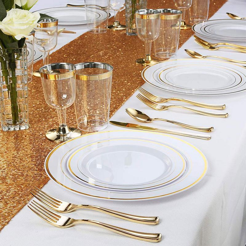 2019 ทิ้งทอง Rose Rose โปร่งใสถ้วย PS วัสดุชุดช้อนส้อม Tourist งานแต่งงานถ้วยพลาสติกทิ้ง-ใน เครื่องใช้บนโต๊ะปาร์ตี้ชนิดใช้แล้วทิ้ง จาก บ้านและสวน บน   3