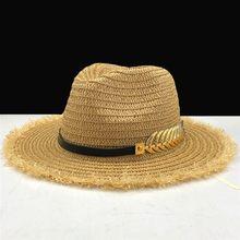 5b48321b298d7 Été femmes Chapeau Dame Raphia Plage Soleil Chapeau décontracté Chapeau de Paille  Panama Hommes Casquette filles