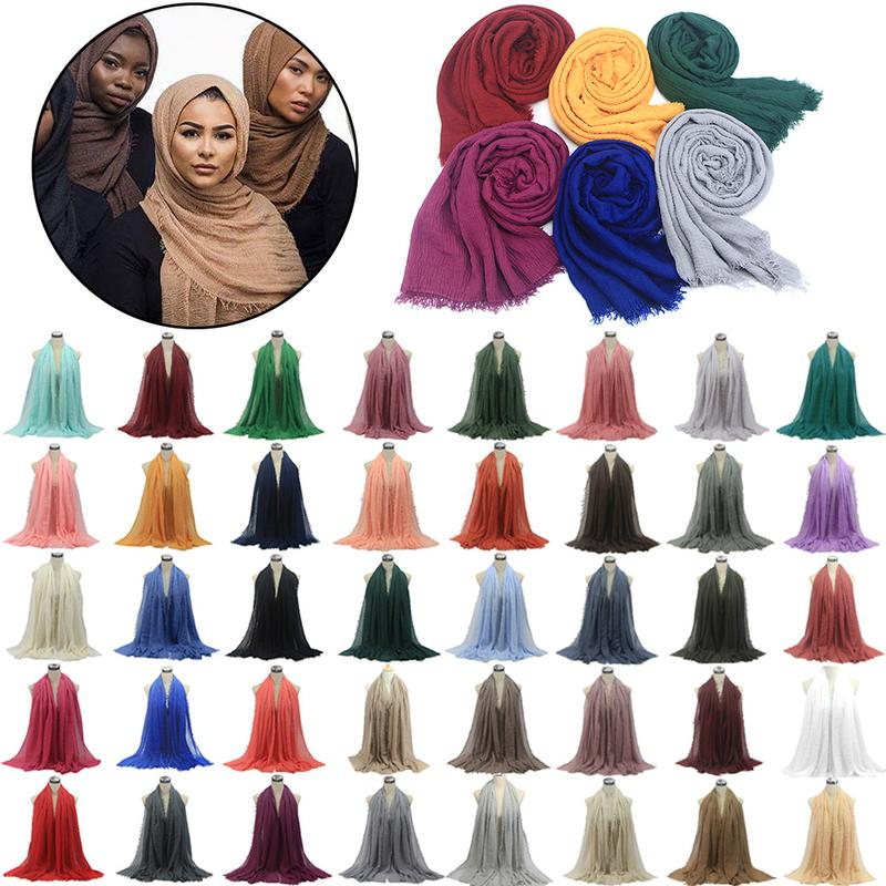 Solid Color Cotton and Linen   Scarf   Crumpled   Scarf   Headband Bubble Plain   Scarf  /cotton   Scarf   Fringes Women Big Pashmina   Wrap