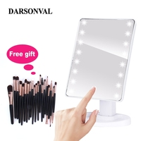 LED Professional Makeup Mirrors With Adjustable 16/22 Touch Screen Professional Lighted Mirrors For Beauty Makeup Eyelash Brush