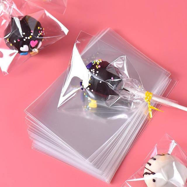 100 cái/túi Opp Túi Nhựa Trong Suốt Túi đối với Kẹo Lollipop Cookie Bao Bì Giấy Bóng Kính Túi Wedding Party Quà Tặng Túi A15