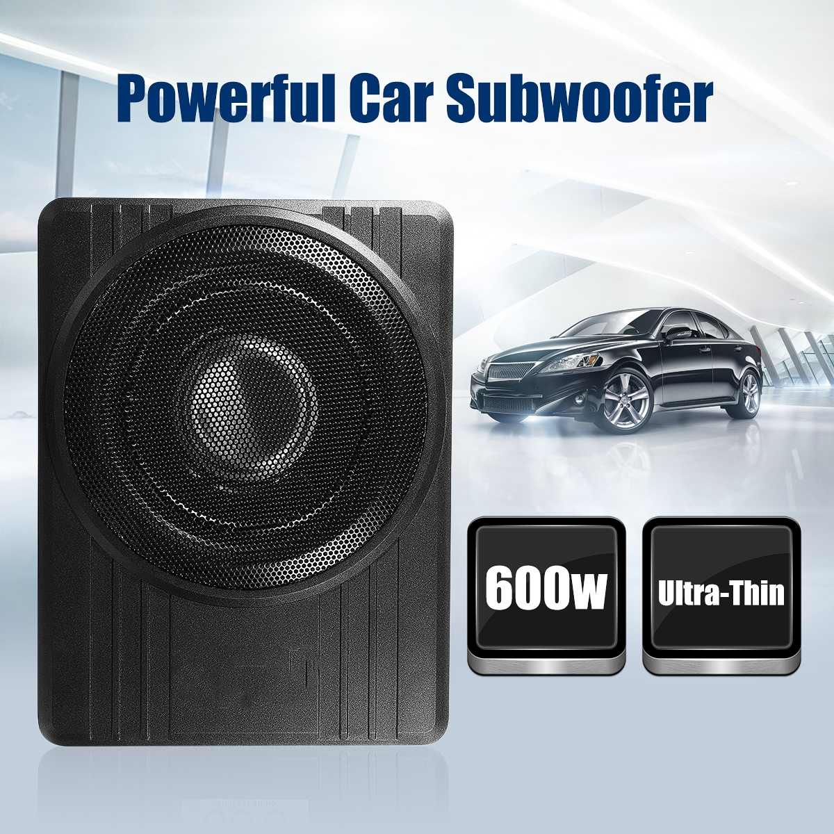 10 600W Under Seat Car Subwoofer Amplifier Ultra Thin Vehicle Active Subwoofer Bass Amplifier Speaker Enclosure Car Audio