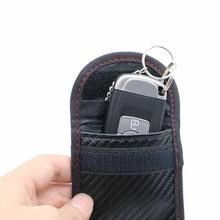 1pc New Black Carbon Fiber Pattern Remote Key Cover Car Signal Blocker Case Bag Blocking Shielding Pouch