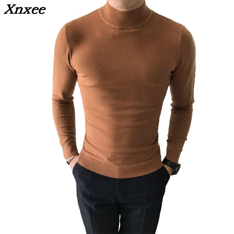 2018 High Quality Autumn Winter Candy Color In The End Of The Collar Pure Color Slim Comfortable Semi-high Collar Sweater Xnxee