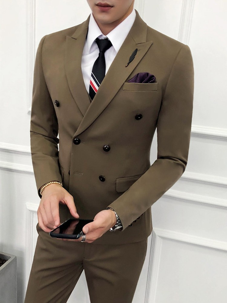 (Jacket+Vest+Pant) Luxury Men Wedding Suit Male Blazers Slim Fit Suits For Men Costume Business Formal Party Khaki Classic Black