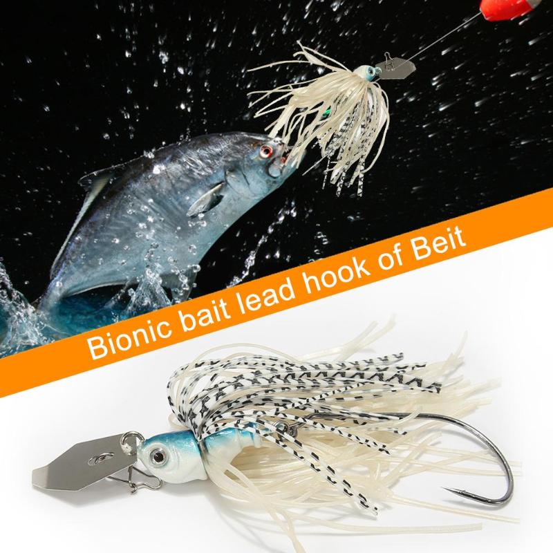 Spinnerbaits Rotating Sequins Lead Head Fluff Artificial Fishing Lure Bait Fishing Hook 17g 8.5cm Fake bait Bionic baits