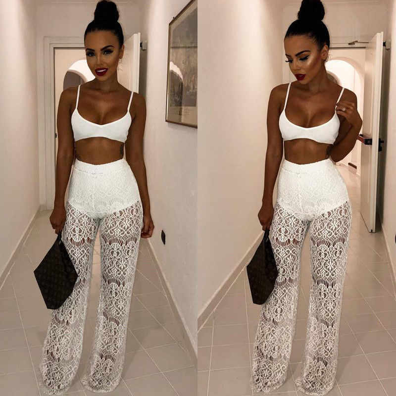 ... Women Sheer Mesh 2 Piece Set See Through Strapless Crop Top and Pant  Set Club Party c45401048f83