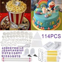 Fondant Cake Decorating SugarCraft Plunger Cutter Rose Flower Mold Home Cake Tools Non-toxic Kitchen Accessories Quick Delivery 47pcs flower sugarcraft cake mold fondant plunger rose leaf daisy cutter polymer clay mould diy baking tools kitchen accessories